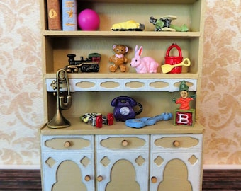 Handmade Dollhouse Dressed Toy Shelf In 1:24 Half Scale by FatCatDesigns