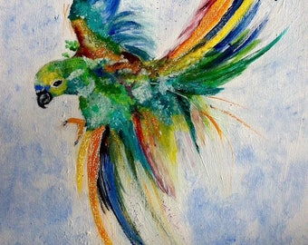 Colorful Parrot - acrylic on canvas