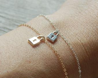 Dainty bracelet, Tiny lock bracelet, Small bracelet, Everyday bracelet, Tiny bracelet locket, Gold locket, Silver locket
