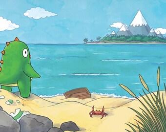 Jamie the Dinosaur: View of the Island A4 Art Print