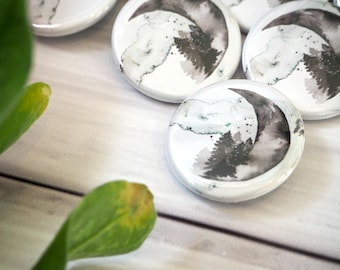 Watercolour Crescent Moon Lunar Pin Button Badge Woodland Inspired
