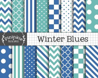 Winter Digital Paper, Blue Scrapbook Paper, Blue Digital Paper, Christmas Scrapbook Paper, Commercial Use, Instant Download, Bl