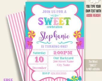 Sweet invitation, Printable Sweet birthday invite, Sweet celebration, candy invite, Instant download Self Editable PDF A231