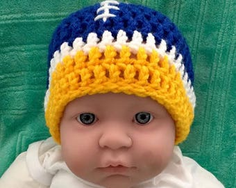 Infant Chargers/Rams colored Football Beanie