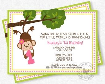 Monkey Birthday Invitation, Girl Monkey Birthday, Monkey Party Invite, First Birthday Invitation