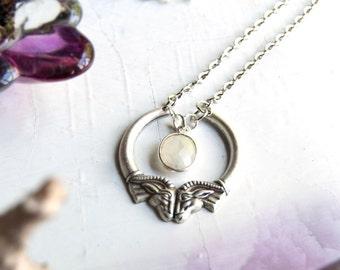 Heimdall Double Ram Head Moonstone Silver Necklace / Double Ram Head Pendant