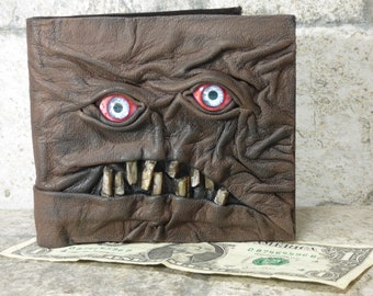 Leather Wallet Zombie Fathers Day Gift Monster Face Fantasy Magic The Gathering Horror World Of Warcraft Black 559
