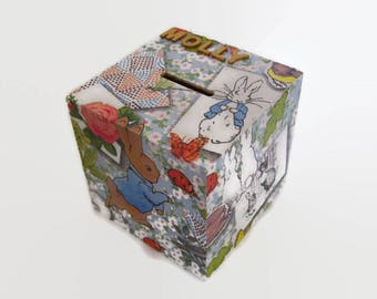Personalised Peter Rabbit Money Box - Peter Rabbit Birthday Gift - Easter Gift - Made to Order