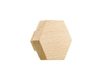 miniHexa beech knobs and hangers,  cabinet knobs and pulls, drawer pulls, hook, variety of colours