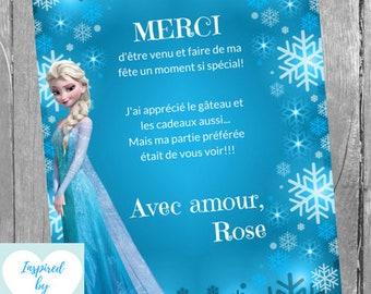 Carte de Remerciement La reine des neiges, Étiquette Disney Frozen Téléchargement Instantané Invitation en français Éditable à Personnaliser