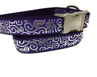 Dog Collar and Leash, Purple Swirls, 6ft lead,1 inch wide, adjustable, quick release, metal buckle, chain, martingale, hybrid, nylon