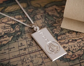 Silver Saint Christopher Ingot with Hallmark Feature Medium Pendant & Personalised Engraving - 18th birthday gift for him Christening Gift