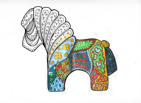 Pferd Färbung Seiten zum Ausdrucken Mandala Zentangle Pony