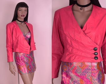 80s Pink Cropped Leather Jacket/ XS/ 1980s