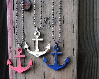 Sale, Anchor Necklace, Painted Birch Wood Pendant with Antiqued Copper Ball Chain, choose your color, Ready to Ship!