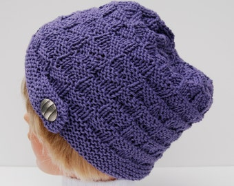 Hand knit purple beanie, cotton hat, purple knitted hat, purple hat, button hat, merino wool hat, purple knit beanie, women's hat