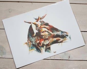 Fine Art Print Sunlit Stag Painting