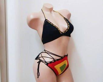 Rasta crochet bikini, Crochet bikini, Rasta bikini, Crochet swimsuit, Crochet bikini set, Crochet swimwear, Rasta clothing, Jamaican bikini