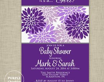 Purple and Lavender Baby Shower Invite Its a Girl Baby Shower Invite Purple Flower Invite Floral birthday Invite 5x7 Printable JPEG 3c