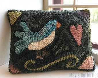 Primitive Folk Art Wool Hooked Rug Blue Bird  PILLOW ~ Early Style ~