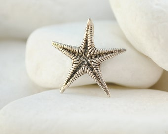 Starfish Pendant,  Solid Sterling Silver, Small Size