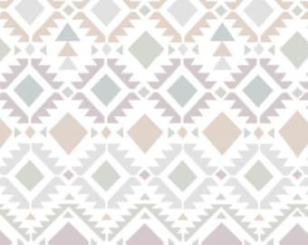 Smooth Minky Fabric by the yard Neutral Aztec.  Neutral Tribal print nursery fabric.