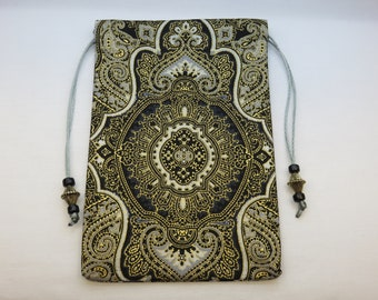 "Giant Silk Lined Tarot Card Pouch, Giant Tarot Card Bag, Handmade 5 1/2"" x 8 1/2"" tall"