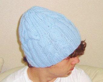 Mens Hats beanie Hat beret Hat men Hat cable BLUE Beanie Men Hat Cable Hat Hand Knit Hat