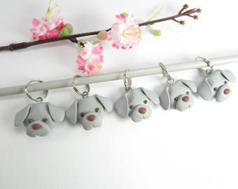 Weimaraner stitch markers, Weimaraner dog gift charms polymer clay knitting accessories dogs charm pet lover gift knit knitters animal