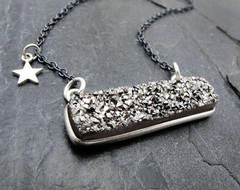 druzy bar necklace, clothing gift, gray druzy pendant, silver druzy rectangle, sterling silver, silver star, celestial, druzy jewelry