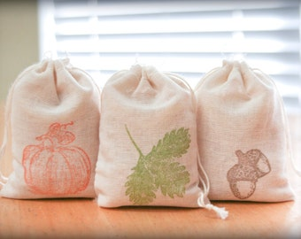 Fall Set muslin cotton favor bag 15 with stamp gift sack thanksgiving party goodies treat bag
