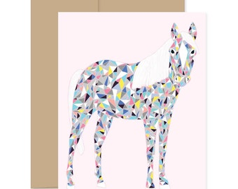Party Horse Card, Colorful Horse Card, Pony Card, Party Pony Card, Horse Greeting Card, Blank Card, Happy Mail Card, Just Because Card