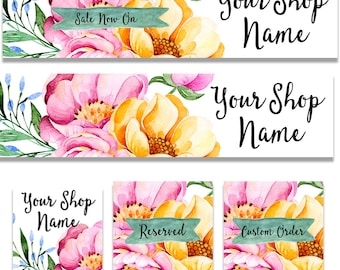Etsy shop banner set sweet watercolor flowers store graphics modern pink and yellow floral large and small banner watercolor cover image