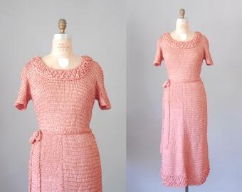 Ruban de soie rose pétale en tricot robe | robe en maille ruban | robe vintage des années 1950