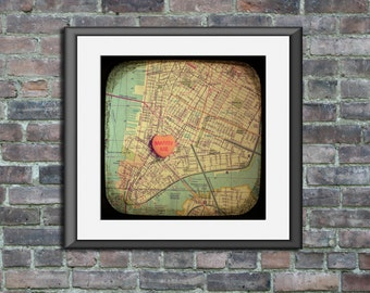 Map art print marry me city hall courthouse NYC new york city manhattan - candy heart custom engagement wedding anniversary gift wall decor