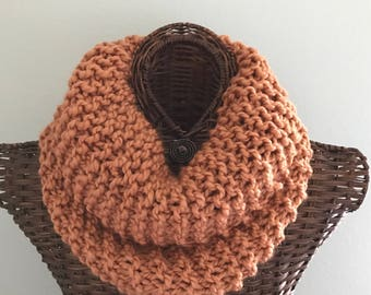 Knitted scarf in harvest, soft chunky wool blend yarn