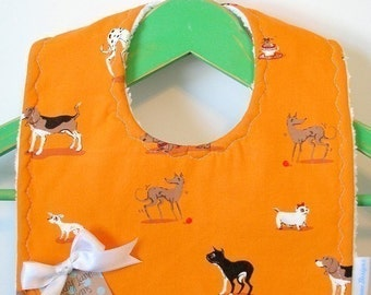 Dogs on Orange - Minky Baby Bib