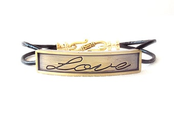 Round Leather Bracelet - Affirmation Word - Gold, Black - The Basics: 2mm Double Strand Love
