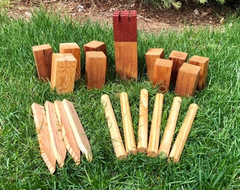 Kubb (AKA Viking Chess), Throwing Lawn Game, Like Horseshoes and Bowling, Koob, Scandinavian game, wood games, handmade, solid cedar