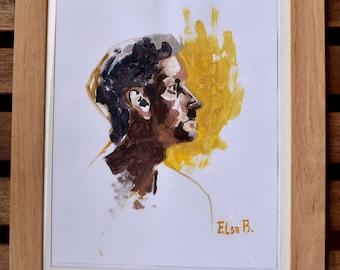 Xavier profile, a portrait in acrylic