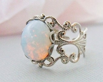 Opal Ring, White Pinfire Opal Ring, Silver Adjustable Opal Rings, October Birthstone Ring, Opal Jewelry, Gifts Under 25,