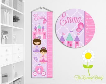 Personalized Princess Growth Chart for Kids - Custom Girls' Growth Chart w/ Name - Hanging Wall Height Chart - Princess Kids' Room Decor