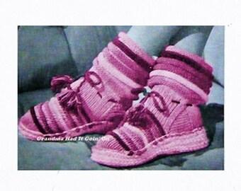 Knitted Ankle Warmer Slipper Pattern - Crochet Pattern - House Slippers - Digital Pattern  - PDF Instant Download - Vintage Slipper Pattern