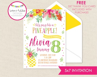 Pineapple Birthday Invitation, Party like a Pineapple, Pineapple Birthday, Pineapple Birthday Decorations, Lauren Haddox Designs