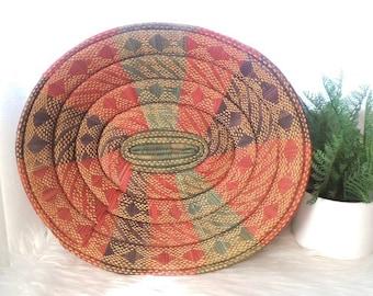 Vintage Colorful Woven African Basket ~ Jungalow Woven Grass Basket ~ Large Oval Basket