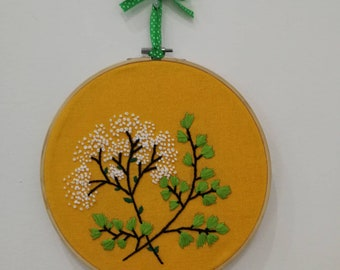 "Decorative plants on 10""embroidery wooden hoop"