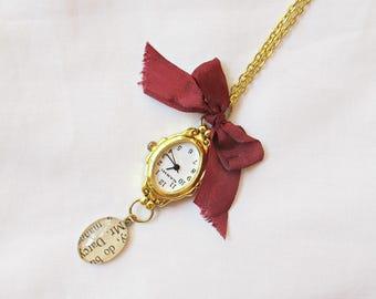 Jane Austen Gift Watch Necklace - Pride and Prejudice Mr Darcy - Ribbon Bow Burgundy Marsala