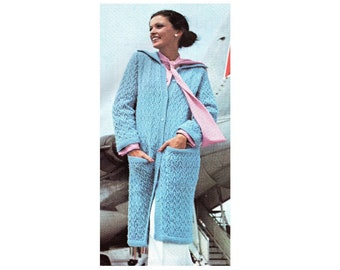 Long Maxi Sweater Coat Knitting Pattern With Pockets Sizes 10, 12, 14, 16, 18, 20  PDF Instant Download