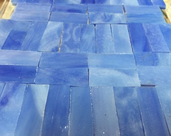 """SUMMER SKY BLUE - 3/8"""" X 1"""" Stained Glass Mosaic Tile Borders J2O2"""