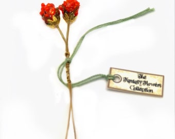 Indian Paintbrush Lampwork Flower Headpin Pair